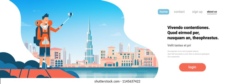 Man tourist backpack taking selfie photo over beautiful Dubai city background cityscape flat horizontal banner copy space vector illustration