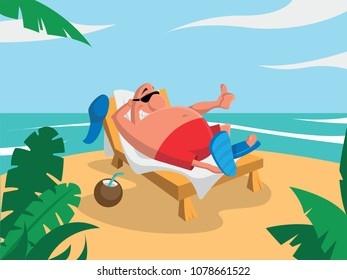 Man tourist on the beach on a deckchair
