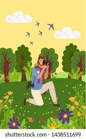 Man tourist or paparazzi making professional shoots on photocamera. Vector correspondent with camera, tourist spend time outdoors, forest, flowers and birds