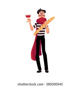 Man in traditional French mime clothing holding wine and baguette as symbols of France, cartoon vector illustration isolated on white background. French man, mime, character with wine and baguette