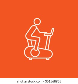 Man training on exercise bike line icon for web, mobile and infographics. Vector white icon isolated on red background.