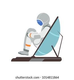 Man training vestibular apparatus on simulator machine. Astronaut preparing for space flight. Cartoon cosmonaut character in spacesuit. Flat vector design