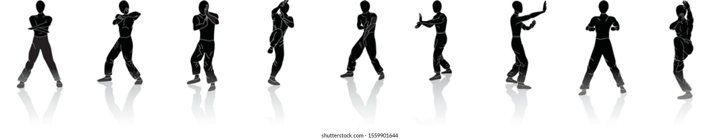 Man training Wing Chun kung fu. Vector of black silhouettes isolated on white background