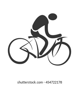Man trainning cycling sport pictogram isolated flat icon, vector illustration.