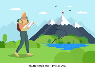 Man traveler with backpack and map walks to mountain along lake valley. Tourist top goal achievement route. Male hiker success outdoor recreation and climbing peak. Nature exploration adventure eps