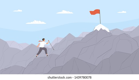 Man travelling through mountain ridge to final destination point. Office worker climbing up cliffs. Concept of business goal achievement, career journey. Flat cartoon colorful vector illustration.