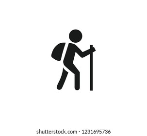 Man travels with backpack and stick icon