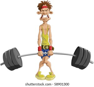 The man tries to lift a weight