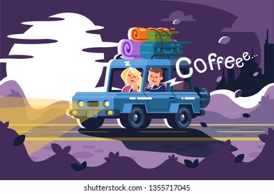 man tries not to fall asleep at the wheel and wants to drink coffee