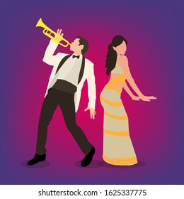 A man with a trumpet and a woman dancing in bollywood style.