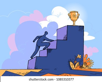 A man try to catch the trophy at the top