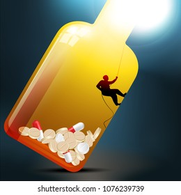 Man trying to get out of medicine bottle filled with painkiller pills. Opioids epidemic concept. Space left for your text. Vector illustration and photo image available.