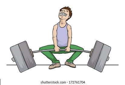 Man trying to lift very heavy  weight but fails, vector illustration