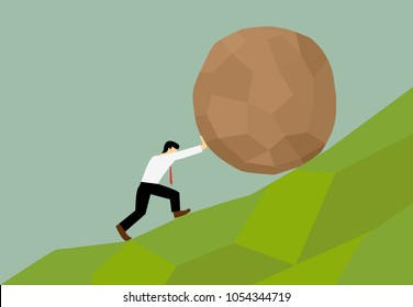 Man trying to move big stone ball to top of hill