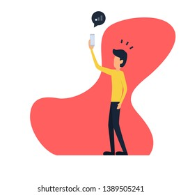 a man trying to pick up the signal on his mobile phone. man trying to use smartphone but no signal - vector