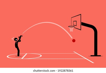 Man trying to shoot a basketball into a hoop. He completely miss and getting an air ball. Vector illustration concept of inaccurate, newbie, unskilled, frustration, and failure.