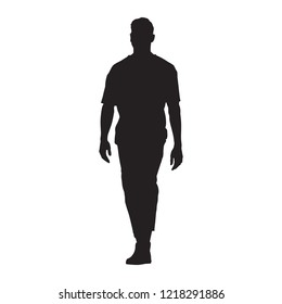 Man in t-shirt walking forward, isolated full body vector silhouette