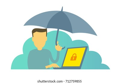The man with umbrella. Protect your computer from viruses. Insurance. Antivirus protection. Vector Illustration