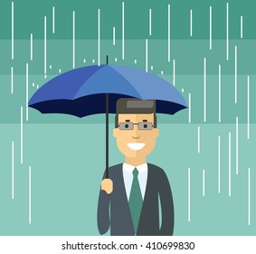 Man  with umbrella under the rain