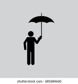 Man with umbrella vector icon