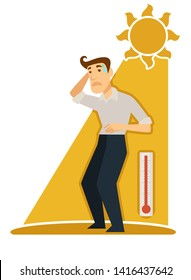 Man under burning sun sunstroke and sunburn risk vector isolated male character sweating guy under sunrays heat and ultraviolet light thermometer showing high temperature medicine and healthcare
