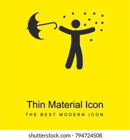 Man under rain loosing umbrella bright yellow material minimal icon or logo design