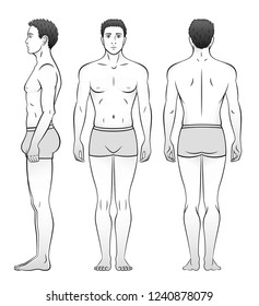 A man in underwear is seen from the front, side and back. Black and white.
