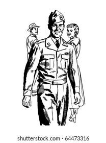 Man In Uniform - Retro Clipart Illustration