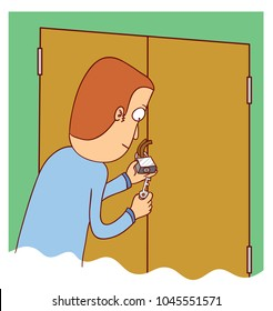 man unlocking a door