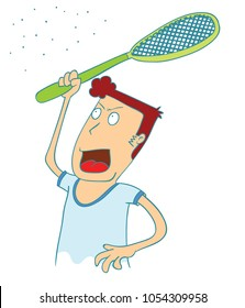 man use electrical racket to kill mosquitos