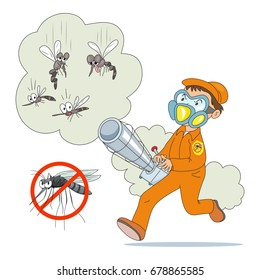A man uses a fogging machine to kill mosquitoes, vector illustration cartoon