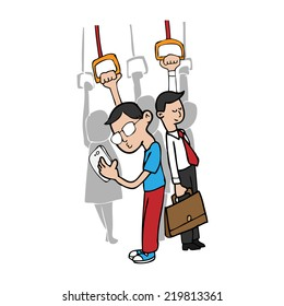 Man uses smart phone on subway cartoon