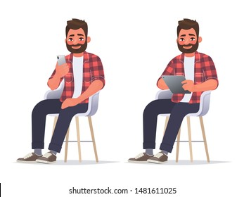 Man uses a smartphone and a tablet while sitting on a chair. Internet surfing or reading an article. Vector illustration in cartoon style
