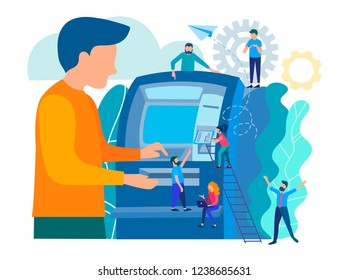 Man using ATM machine.  Payment using credit card. Сashing out money with an ATM. Concept teller cash machine vector illustration for web page, banner, presentation, social media.