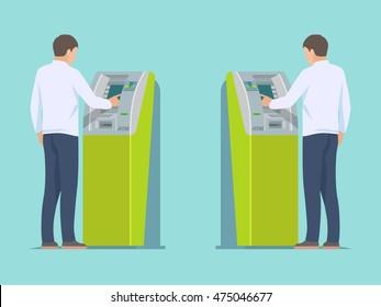 Man using ATM machine. Vector flat design illustration