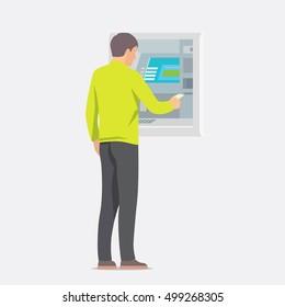 Man using ATM machine. Vector illustration