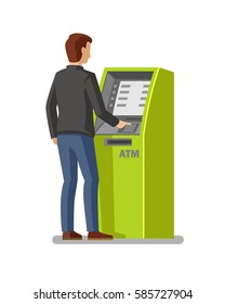 man using cash atm machine vector illustration