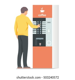 Man using coffee vending machine. Vector isolated illustration on white background