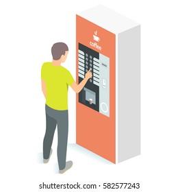 Man using coffee vending machine. Vector illustration