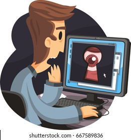 man using computer being spyed by a hacker or the goverment