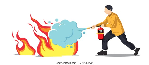 Man using a fire extinguisher to extinguish a fire