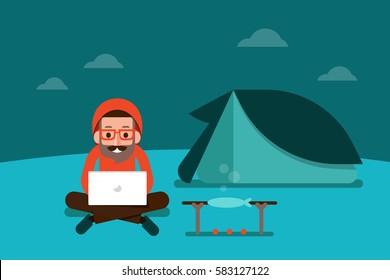 Man Using Laptop On Camping.