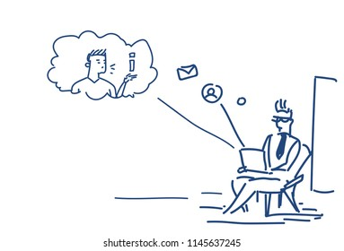 man using laptop sitting pose online communication concept chat messenger application sketch doodle horizontal vector illustration
