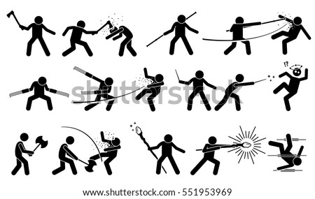 Man Using Medieval War Weapons Attack Stock Vector Royalty Free
