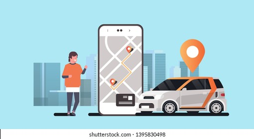 man using mobile app ordering automobile vehicle with location mark rent car sharing concept transportation carsharing service modern cityscape background horizontal