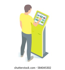 Man using payment kiosk. Vector illustration