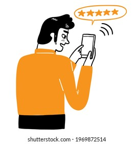 The man using the phone, Hand draw Vector illustration doodle style