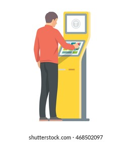 Man using self-service terminal. Vector isolated illustration on white background