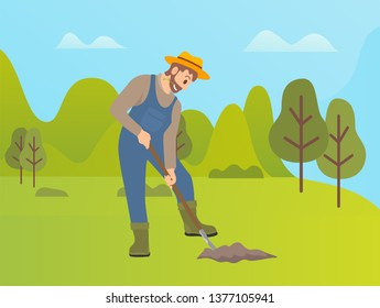 Man using shovel to dig hole for plants vector, farming person working on land. Farming activity of farmer, forest with trees, husbandry in summer