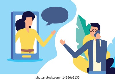 man using smartphone chat woman talking bubble vector illustration